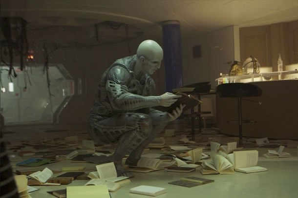 An Engineer does a little light reading in a deleted scene from Prometheus