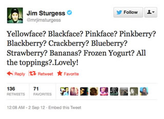 A tweet from Jim Sturgess that has since been deleted
