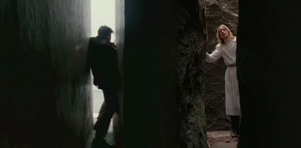 (left) Leonardo DiCaprio in Inception and Anne-Louise Lambert in Picnic at Hanging Rock