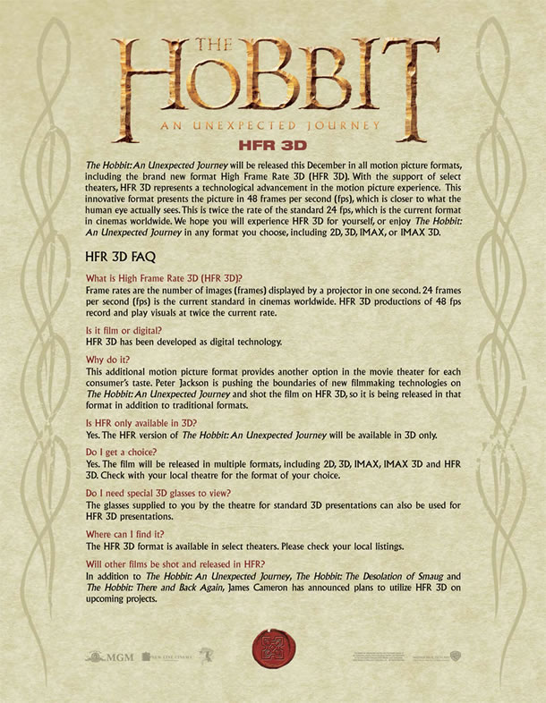 The Hobbit - HRF 3D FAQ Sheet
