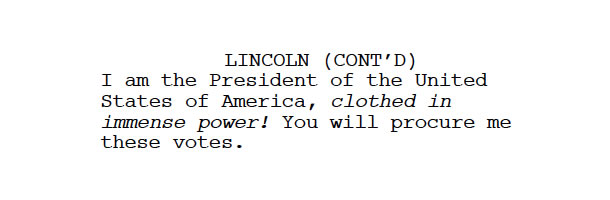 Excerpt from the Lincoln Screenplay