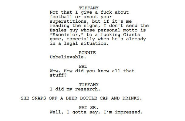 Snippet from the Silver Linings Playbook screenplay
