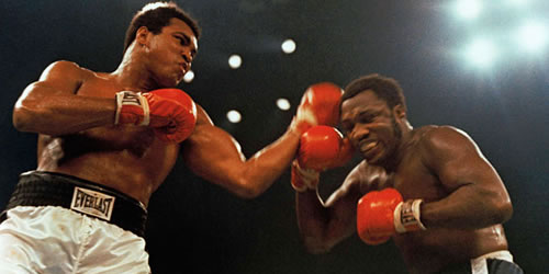 Muhammad Ali and Joe Frazier in the 1975 fight the Thrilla in Manilla
