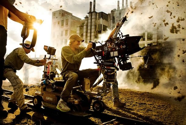 Michael Bay on the set of Transformers: Age of Extinction
