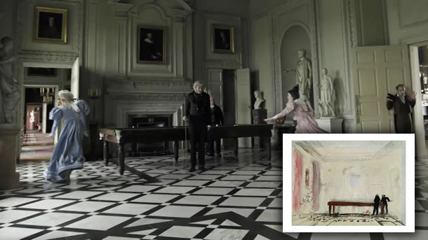 A scene from Mike Leigh's JMW Turner film compared to the Turner painting that was recreated