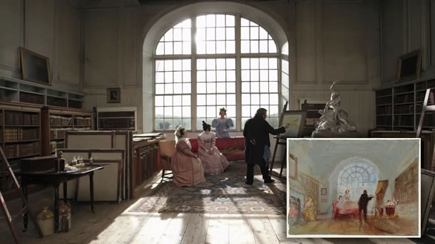 A second scene from Mike Leigh's JMW Turner film compared to the Turner painting that was recreated