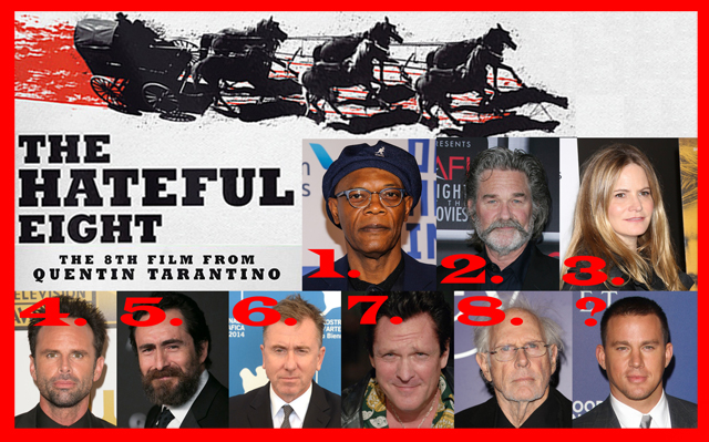 quentin tarantino s the hateful eight assemble in a behind the