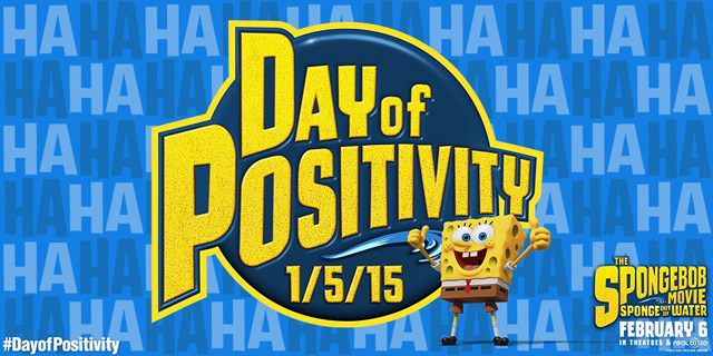 The SpongeBob Movie Day of Positivity on Monday