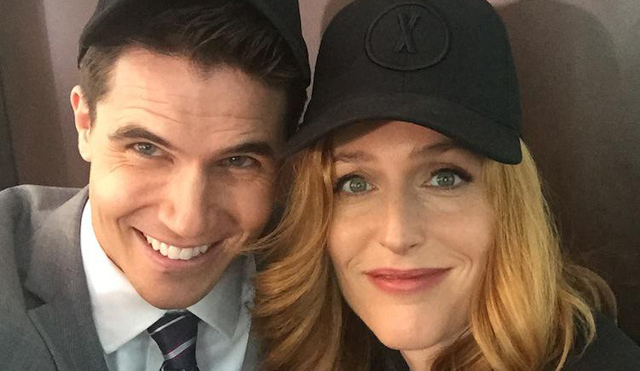 Robbie Amell and Gillian Anderson share X-Files set photos!
