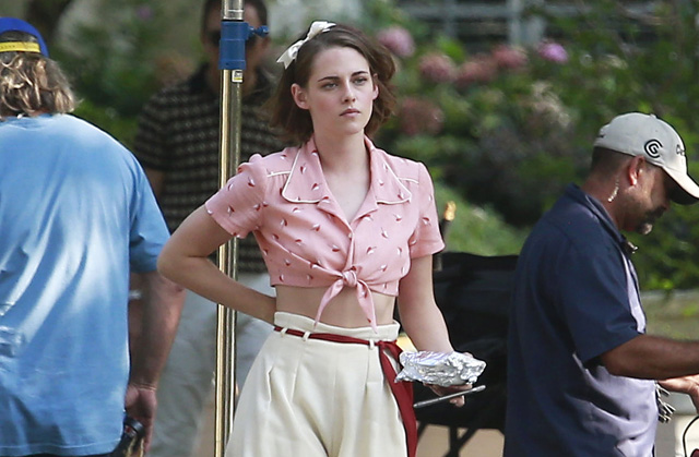 kristen stewart photos from the set of the new woody allen