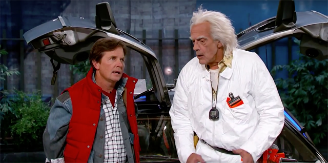 Jimmy Kimmel Explains the Future to Marty McFly & Doc Brown.