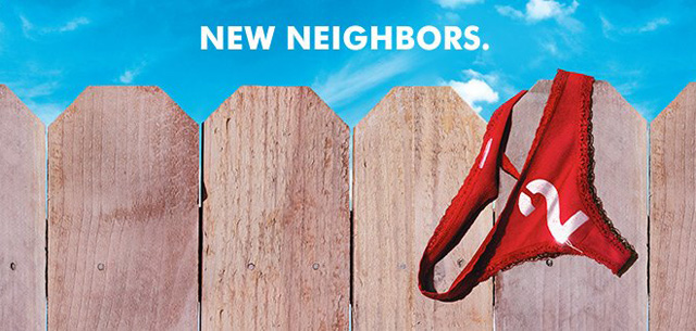 Neighbors 2 Poster: The Sorority Flies the Red Flag of War.