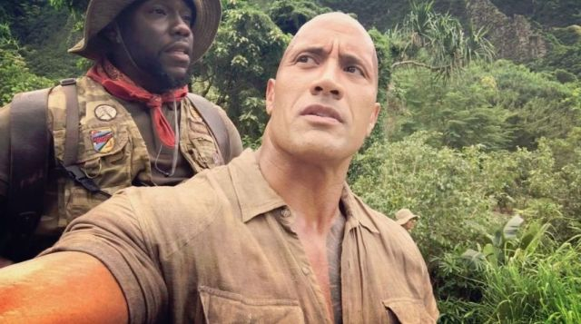 Dwayne Johnson Carries Kevin Hart in New Jumanji Set Video