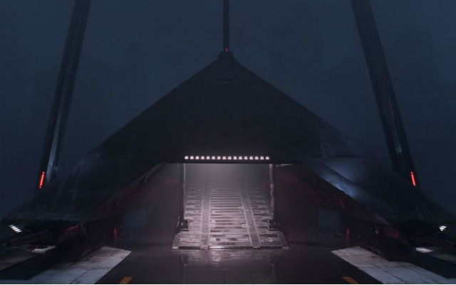 Krennic's shuttle is another of the Rogue One ships.
