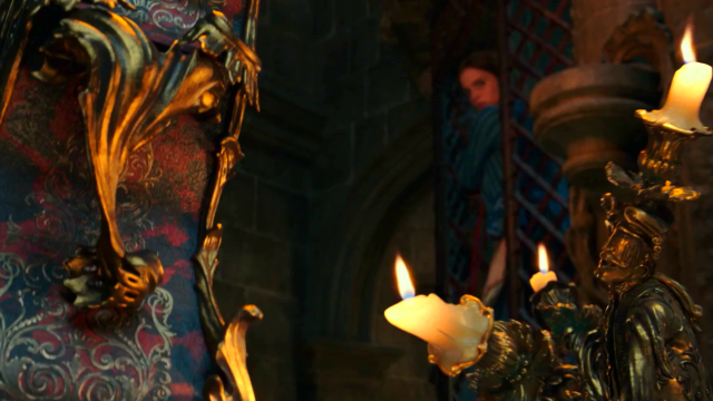 Belle Meets Lumiere and Cogsworth in New Beauty and the Beast Clip