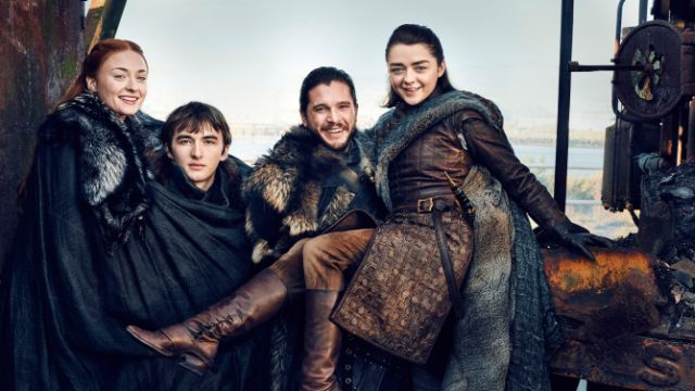 Stark children unite for Game Of Thrones EW cover