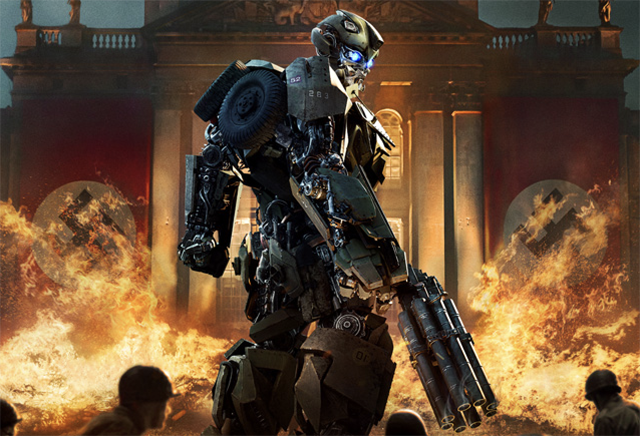 Bumblebee Burns Nazis in New Transformers: The Last Knight Poster