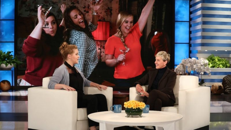 Amy Schumer flashes her diaper-clad bum on Ellen