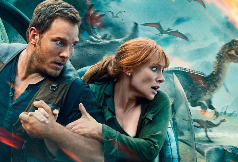 Pratt and Howard Run for Their Lives in New Jurassic World: Fallen Kingdom Poster