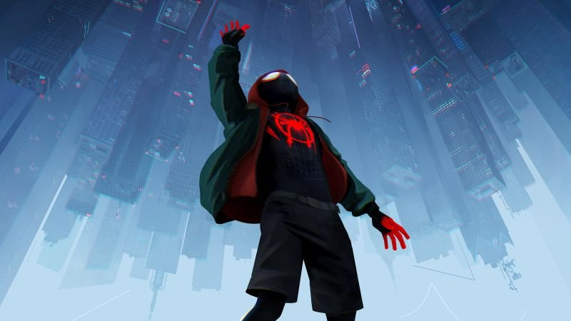 Miles Morales meets Peter Parker in 'Spider-Man: Into the Spider-Verse'
