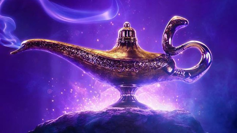 Will Smith Shares Aladdin Poster with Genie's Lamp