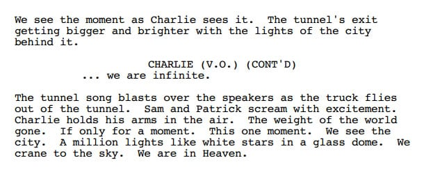 Excerpt from the screenplay for The Perks of Being a Wallflower