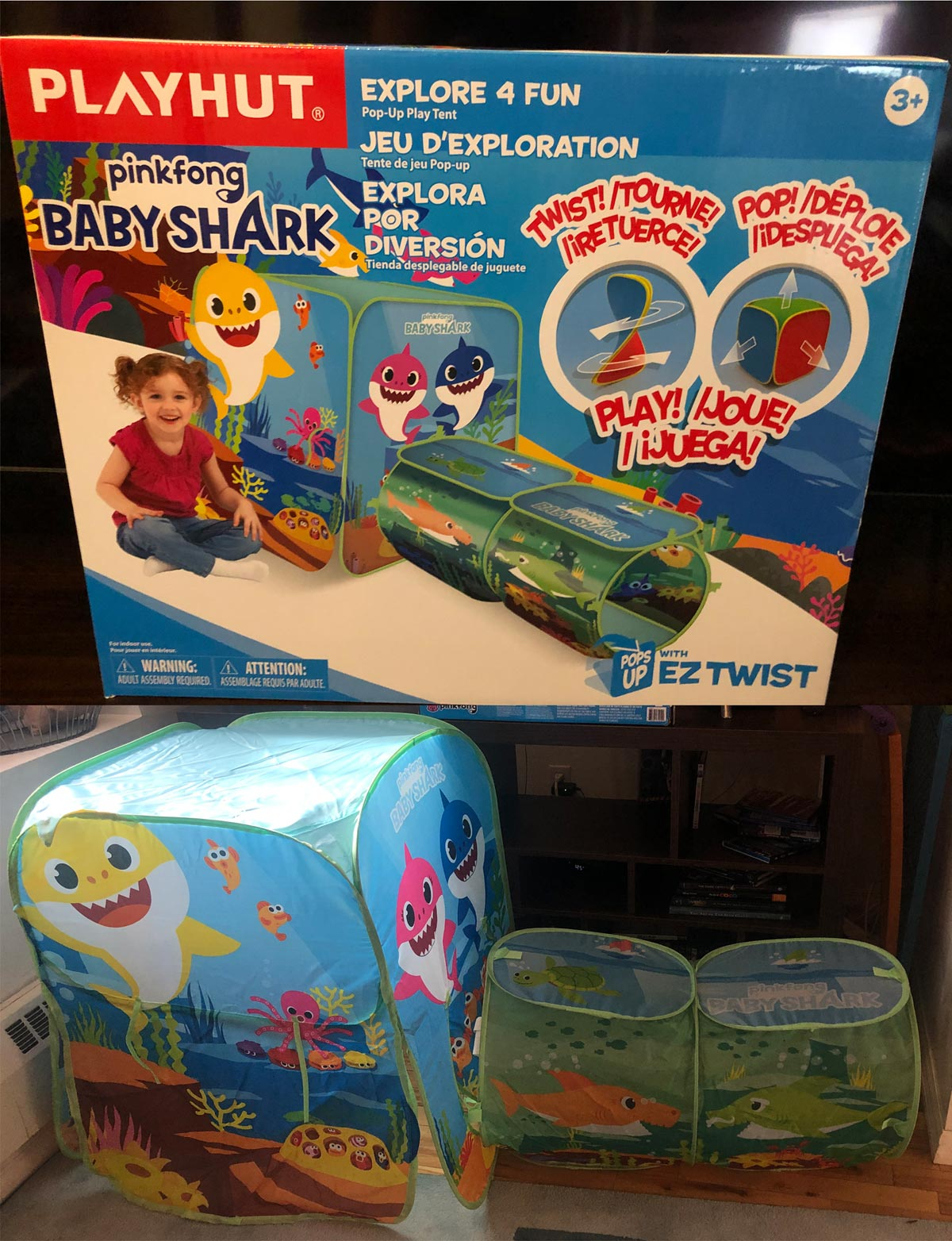 Playhut Baby Shark Explore 4 Fun Pop-Up Play Tent