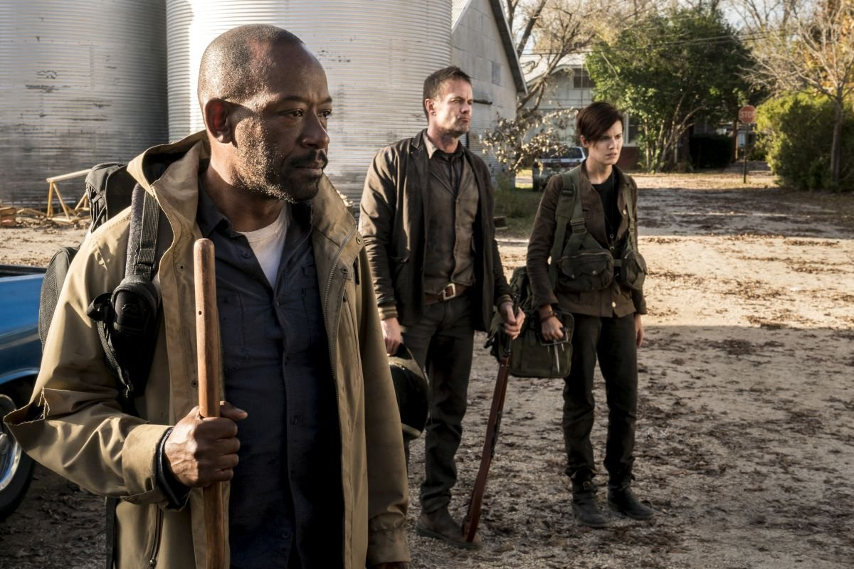 Lennie James as Morgan Jones, Garret Dillahunt as John, Maggie Grace as Althea - Fear the Walking Dead _ Season 4, Episode 3 - Photo Credit: Richard Foreman, Jr/AMC