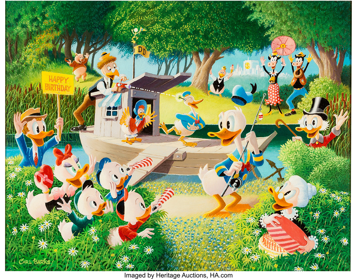 carl_barks_surprise_party_at_memory_pond_painting_original_art_heritage_auctions