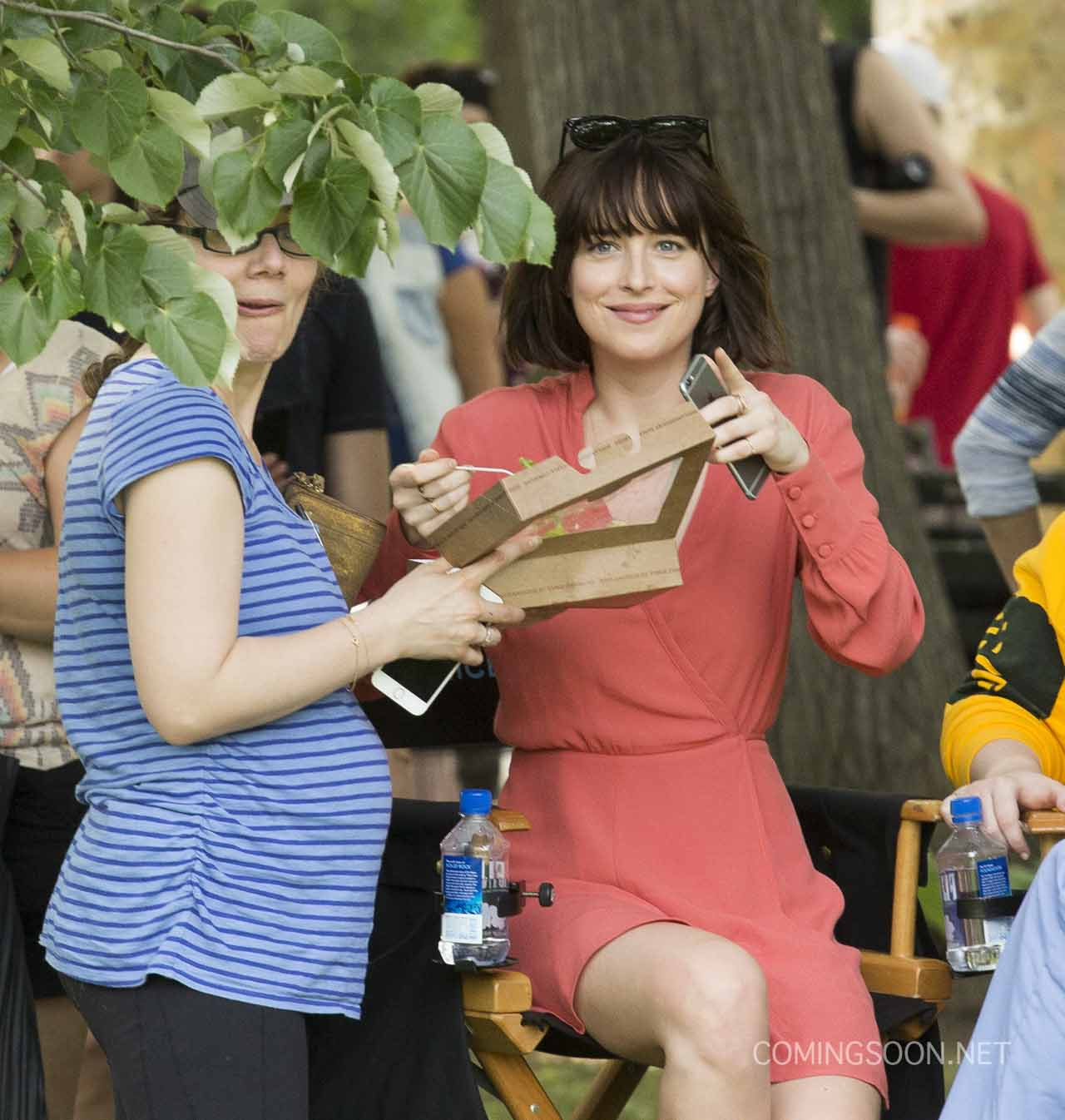 Dakota Johnson And Rebel Wilson In How To Be Single Set Photos