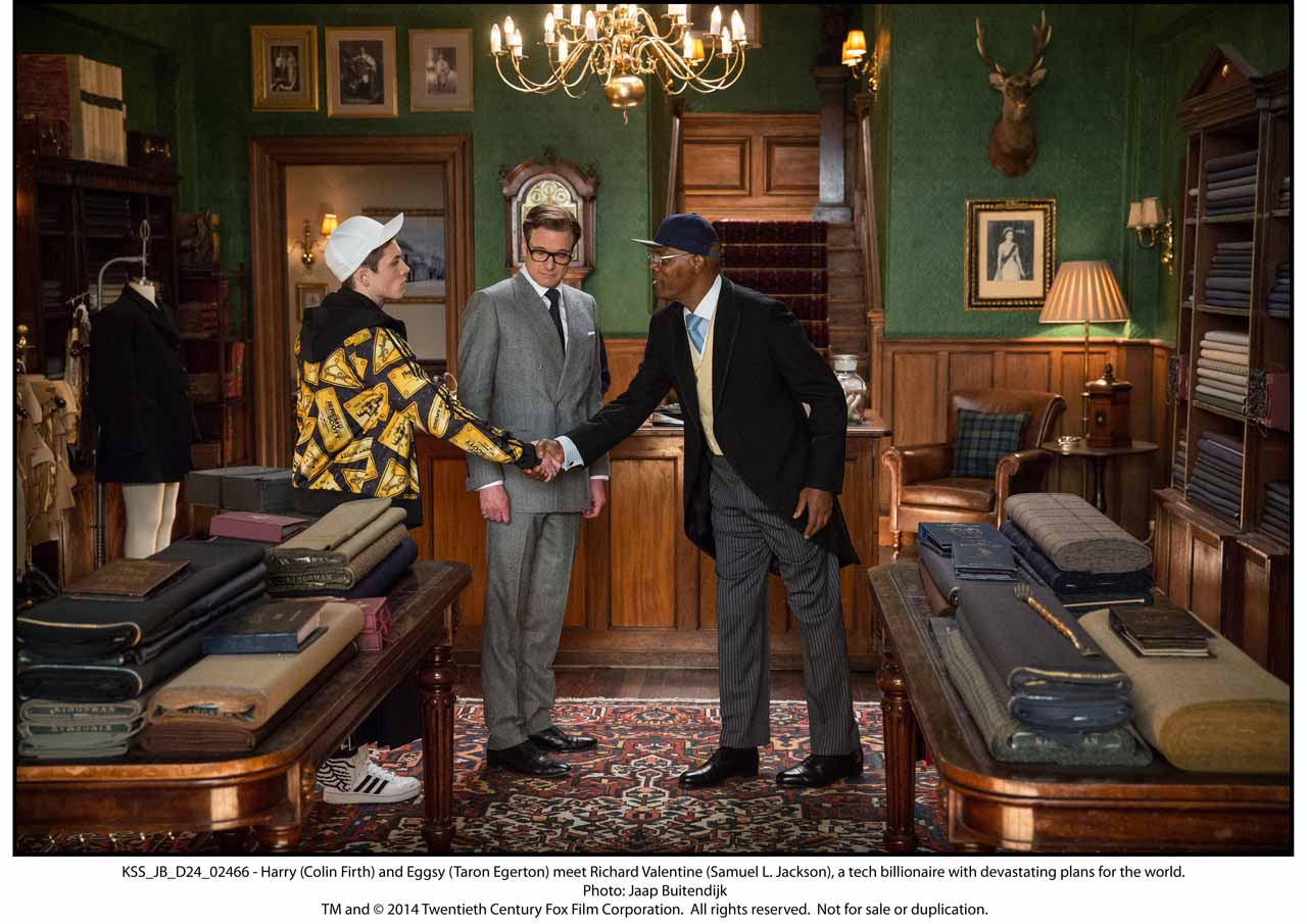KSS_JB_D24_02466 - Harry (Colin Firth) and Eggsy (Taron Egerton) meet Richard Valentine (Samuel L. Jackson), a tech billionaire with devastating plans for the world.