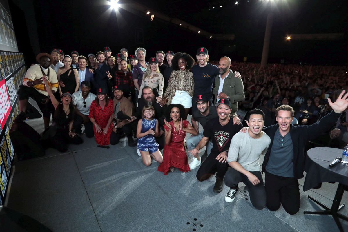 SAN DIEGO, CALIFORNIA - JULY 20 Cast and Filmmakers at the San Diego Comic-Con International 2019 Marvel Studios Panel in Hall H on July 20, 2019 in San Diego, California Photo: Eric Charbonneau