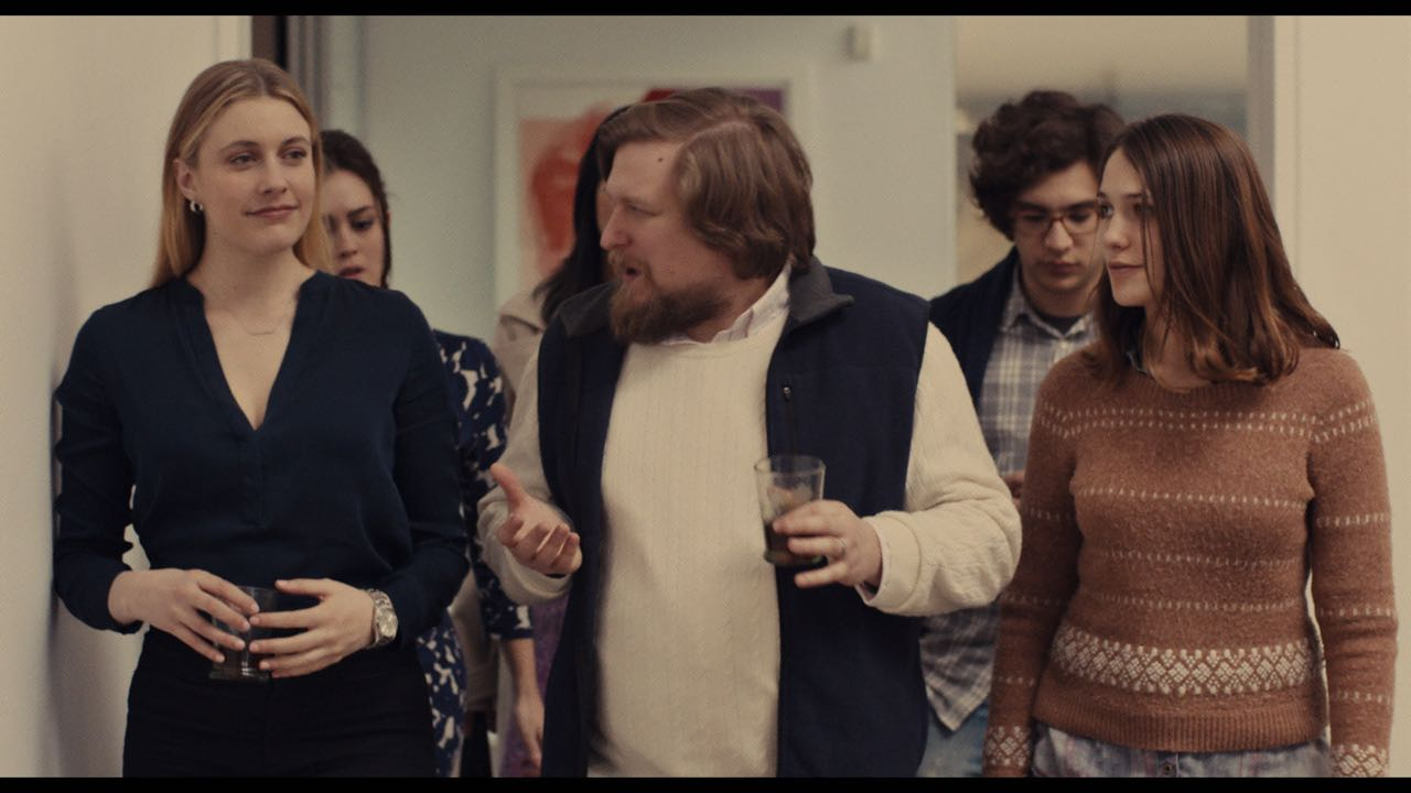 """(L-R) Greta Gerwig as """"Brooke,"""" Heather Lind as """"Mamie-Claire,"""" Cindy Cheung as """"Karen,"""" Michael Chernus as """"Dylan,"""" Matthew Shear as """"Tony"""" and Lola Kirke as """"Tracy"""" in MISTRESS AMERICA. Photo courtesy of Fox Searchlight Pictures © 2015 Twentieth Century Fox Film Corporation All Rights Reserved"""
