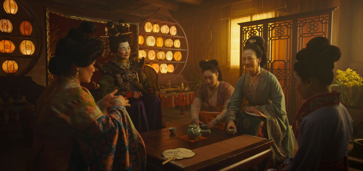 Disney's MULAN L to R: Groom's mother, Matchmaker (Pei-Pei Cheng), Xiu (Xana Tang), Wuwei (Rosalind Chao) and Mulan (Yifei Liu) Photo: Film Frame © 2019 Disney Enterprises, Inc. All Rights Reserved.