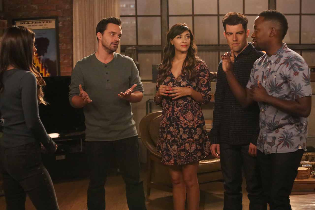 "NEW GIRL: L-R: Guest star Megan Fox, Jake Johnson, Hannah Simone, Max Greenfield and Lamorne Morris in the ""Wig"" episode of NEW GIRL airing Tuesday, Feb. 16 (8:00-8:30 PM ET/PT) on FOX. ©2016 Fox Broadcasting Co. Cr: Adam Taylor/FOX"