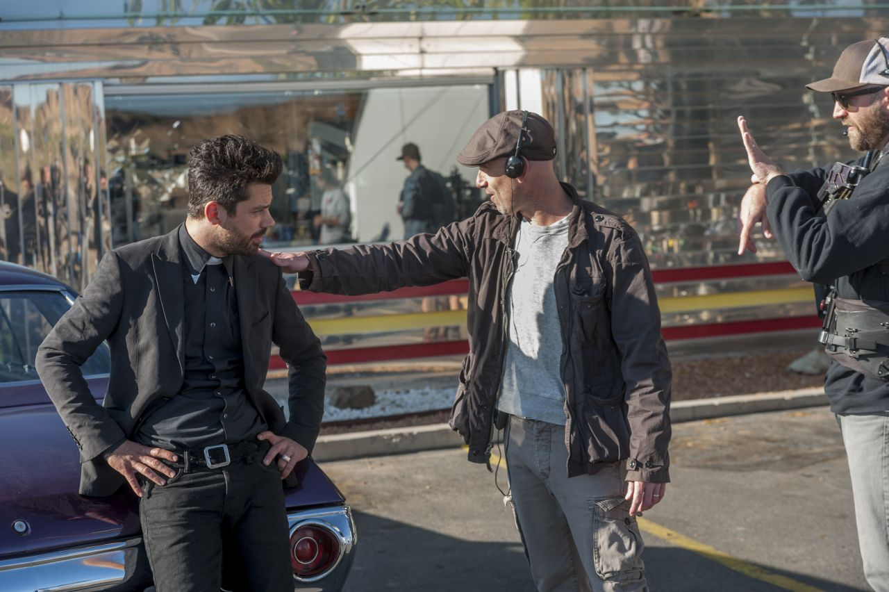 BTS, Executive Producer Sam Catlin, Dominic Cooper as Jesse Custer - Preacher _ Season 1, Episode 9 - Photo Credit: Lewis Jacobs/Sony Pictures Television/AMC