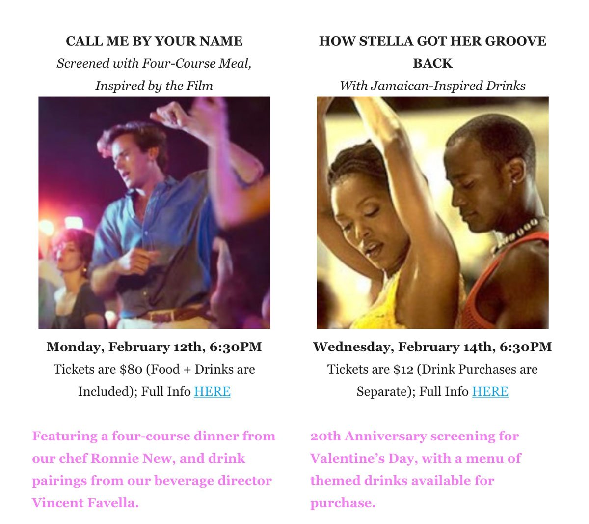 Alamo Call Me By Your Name and How Stella Got Her Groove Back Events